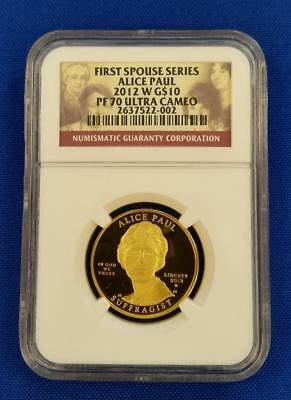 "2012-W US 1/2oz GOLD $10 First Spouse ""ALICE PAUL"" NGC PF70 Ultra Cameo   L2537"