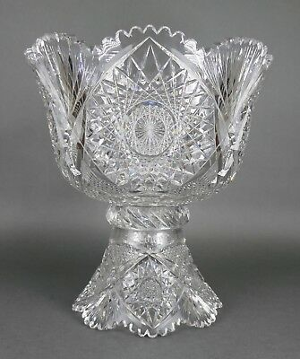 Fine Antique AMERICAN BRILLIANT Cut Crystal Lowe ABP Medium Punch Bowl 19th Cent
