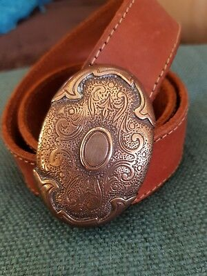 vintage leather belt with brass western buckle