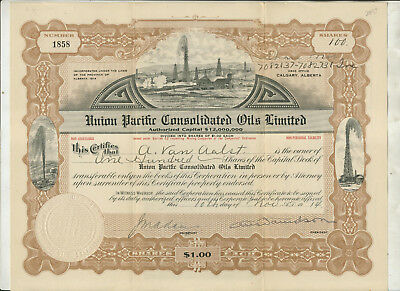 1914 Union Pacific Consolidated Oils Limited Alberta Canada Stock Certificate