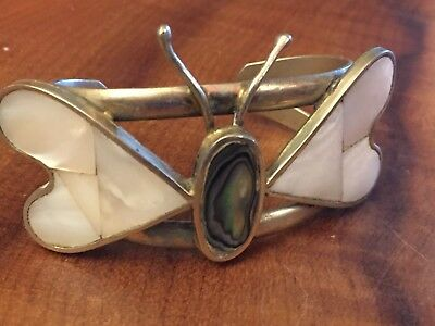 Mother of Pearl and Abalone Butterfly Bracelet band of Mexican silver