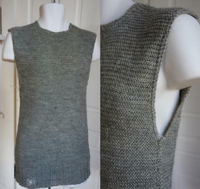 Destroyed Vintage 20's 30's Long Tunic Gray Knitted Wool Sweater Large