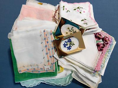 Large Lot 95 Vtg Embroidered / Crochet / White Hanky Lot minor flaws + cutters