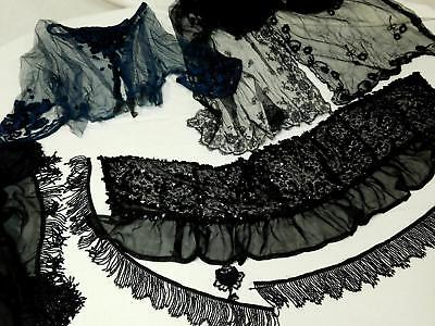 Lot Antique Victorian Black Lace & Beaded Fringe Salvage and Remnant for Crafts
