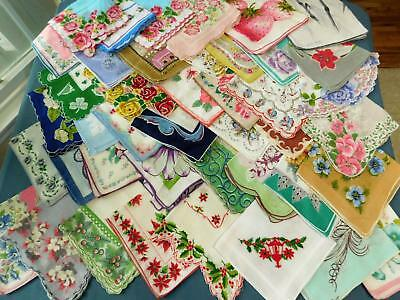 Large Lot 43 Vtg Floral Hanky Lot minor flaws + cutters