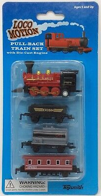 Train Set with Die Cast Engine Toysmith Loco Motion Pull Back NEW