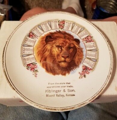 Kiplinger & Son  Mound Valley, Kansas Calendar Plate 1912 Lion picture in Center
