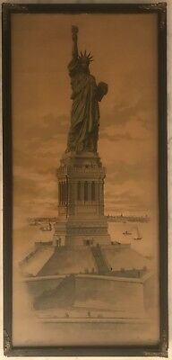 Antique Litho  View of the Statue of Liberty Signed By The Sculptor Bartholdi