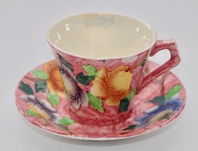 Rare Vintage Maling Ware PEONY Demitasse Cup and Saucer Set - Hand Painted