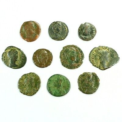Ten (10) Nicer Ancient Roman Coins c. 100 - 375 A.D. Exact Lot Shown rm3220