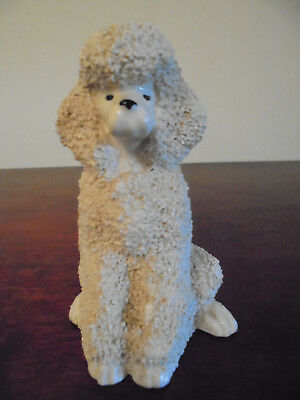 White Sugar Texture Vintage Poodle Figurine . HARDIE DOGS COLLECTION.