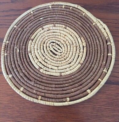 "SWEETGRASS Woven MAT TRIVET 9 1/4"" Round Collectible Rare find!"