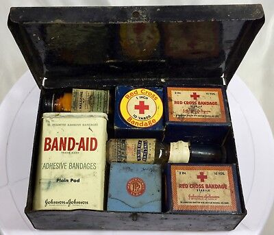 Vintage First Aid Kit Tin With Contents And Equity Stainless Steel Scissors