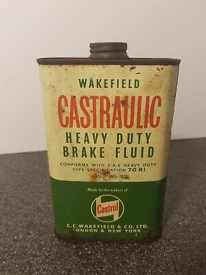 VINTAGE CASTROL's CASTRAULIC HEAVY DUTY BRAKE FLUID WAKEFIELD TIN CAN