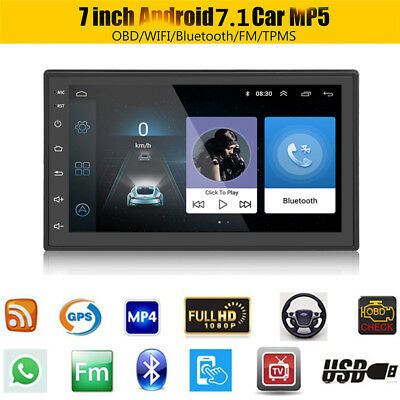 "Ultra-thin Android 7.1 7"" Car Stereo MP5 Player Radio GPS Wifi OBD DAB DVB DVR"