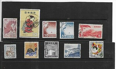 Japan. 1953-1957 Selection Of 10 .fine Used. As Per Scan