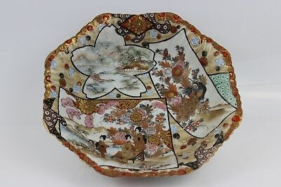 Antique Japanese Kutani Meiji Period Porcelain Bowl 25cm SIGNED
