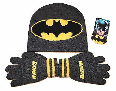 Boys Kids Batman Beanie Hat And Gloves Winter Official Superhero Set New Age 3-8