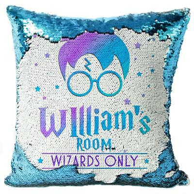 PERSONALISED Harry Potter Sequin Cushion Cover Magic Reveal Christmas Blue KC71