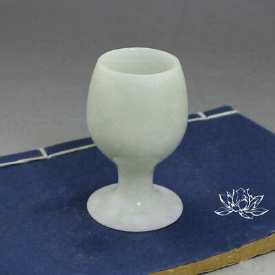 Antique Chinese Pure Natural Lantian Jade Ornaments Wine Glass Goblet Ornaments