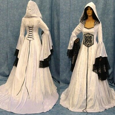 Medieval Women Dress Lace Up Renaissance Dress Hooded Halloween Cosplay Costume