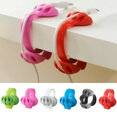 Silicone Cable Clip Desk Tidy Organiser Wire Cord Lead USB Charger Holder Fixer