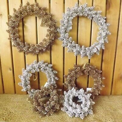 Silver or Rose Gold 3 Ring Pine Cone Round Wreath Home Winter Wedding Christmas