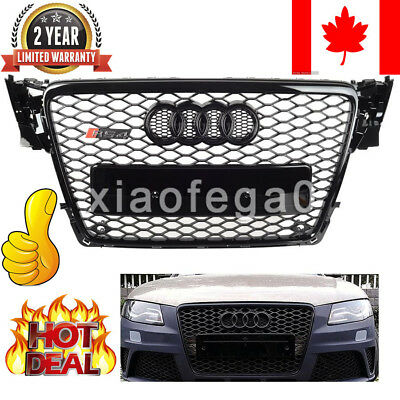 Audi A4 S4 B8 RS Style Honeycomb Type Mesh ABS Front Gloss Black Grill 2009-2012