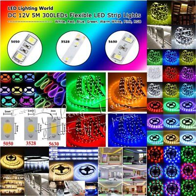 5M 10M 20M 3528 5050 5630 SMD RGB/White Flexible LED Strips Lights Xmas Garden