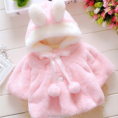 41cebdae9074 BABY GIRL KIDS Rabbit Ear Bunny Hoodie Coat Hoody Winter Jacket ...