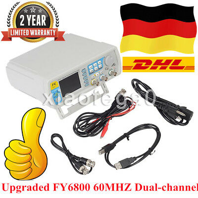 Upgraded FY6800 DDS Dual-channel 60MHZ Arbitrary Waveform Signal Generator DHL