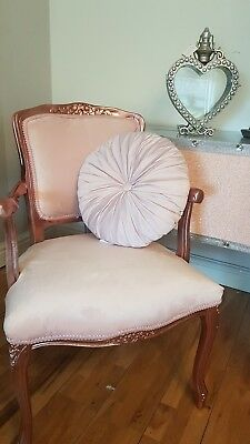 French Louis Style Arm Chair In Copper And Blush Pink