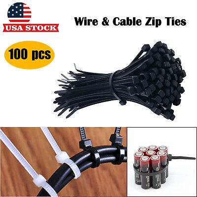 100 Pcs Heavy Duty Plastic Wire Nylon Cable Zip Ties Black & White 4''- 20''