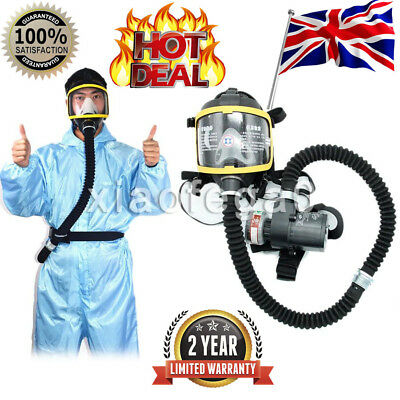 Electric Constant Flow Supplied Air Fed Full Face Gas Mask Respirator System UK