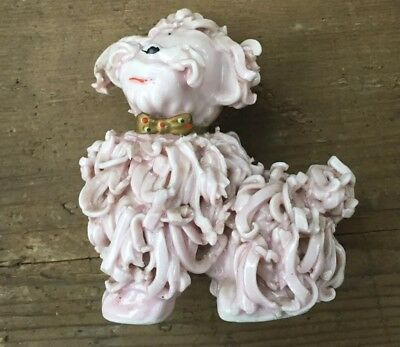 Poodle Dog Figurine Spaghetti Porcelain Collectible Vintage Pale Pink 4""