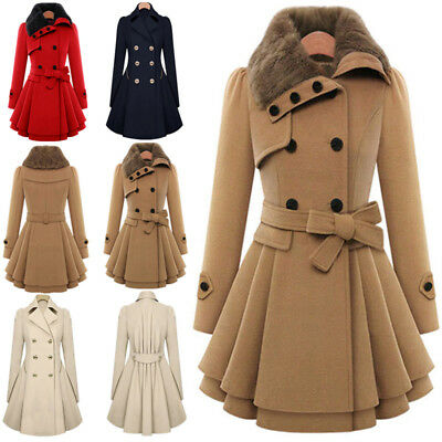 Women's Fashion Faux Fur Warm Double-breasted Thick Wool Trench Coat Jacket