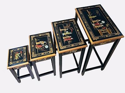 Chinoiserie Nest of 4 Tables,Oriental Chinese Furniture