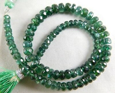 """11"""" Natural Apatite Faceted Roundels Shape Semi Precious Beads 4-6 mm H42-27"""