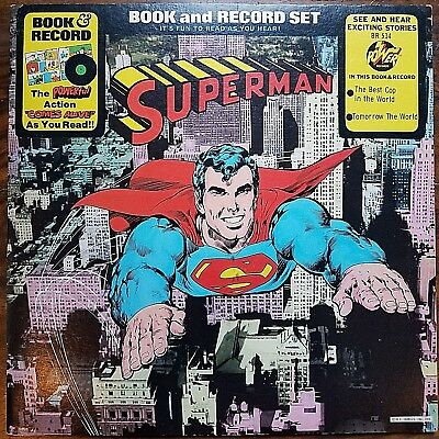 Superman Book and Record Set Power Records Vinyl LP Read Along VTG 1976 BR-514