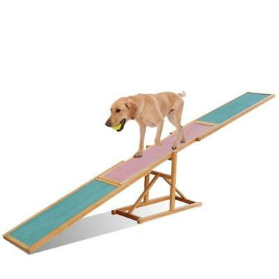 Outdoor Home Dog Agility Seesaw Pet Balance Exercise Trainer 3M Wood Pink Green