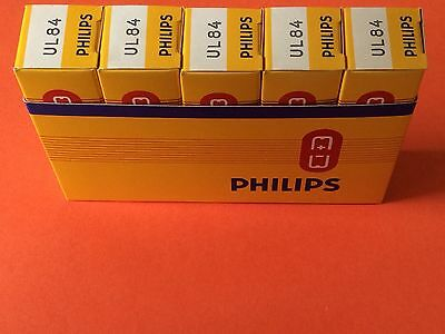 Lot of x5 Philips UL84 New Old Stock in Box electron vacuum tubes valves rohre