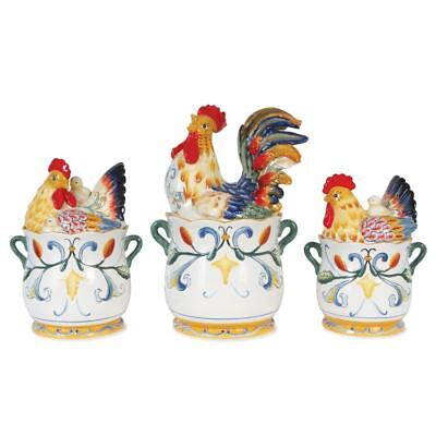 Fitz and Floyd Ricamo Rooster Canisters. Set of 3. Earthenware. New.