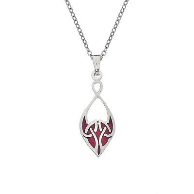 Enamel and Silver Red Celtic Knot Pendant Necklace (7712)