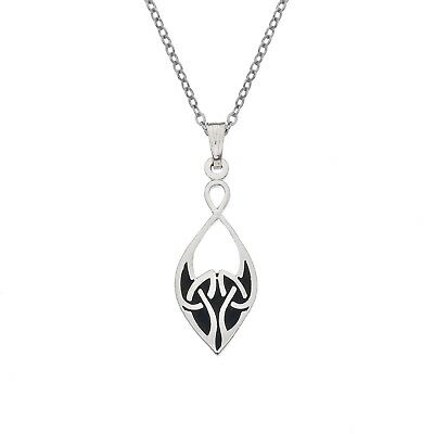 Enamel and Silver Black Celtic Knot Pendant Necklace (7712)