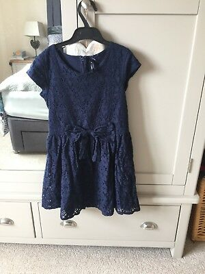 Next Girls Navy Blue Lace Dress Age 10 Years