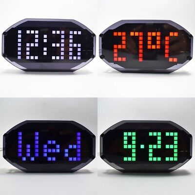 DIY LED Mirror Matrix Clock Desktop Alarm Holiday Birthday Remind Learning Kit