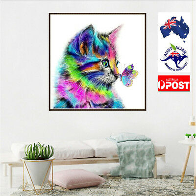 5D Diamond Painting Cat Embroidery Craft Cross Stitch Kit Home Decors Art DIY JI