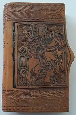 Antique Greek Orthodox Saint George Handcrafted Folk Tobacco Box