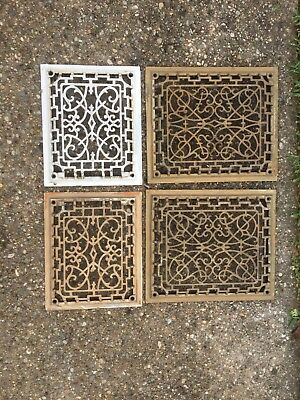 Four Vintage Salvaged original Cast Iron Vent Cover (2) 8 x 10 and (2) 12 x 10