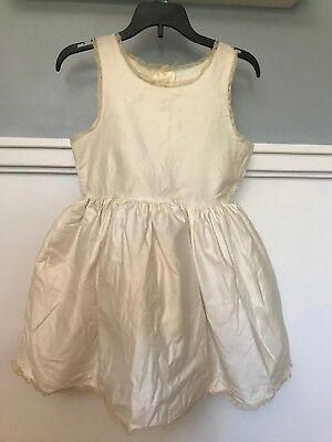 50s Vintage Girls Full Slip Petticoat White Cotton Lace Crinoline Dress - 8 #142
